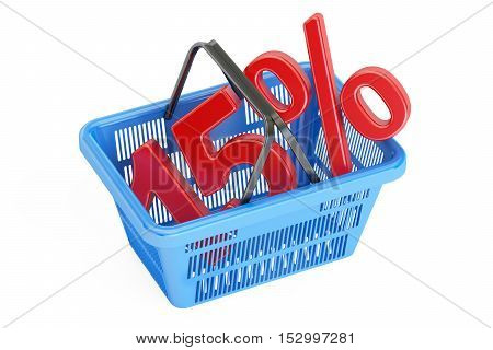 Discount and sale 15% concept 3D rendering isolated on white background