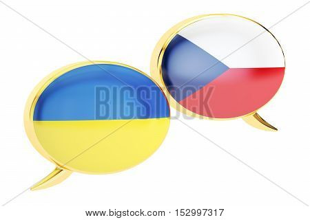 Speech bubbles Czech-Ukrainian conversation concept. 3D rendering