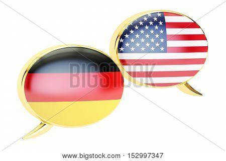 Speech bubbles Germany-USA conversation concept. 3D rendering