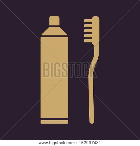 The toothpaste and toothbrush icon. Bathroom, dental, dentist symbol. Flat Vector illustration