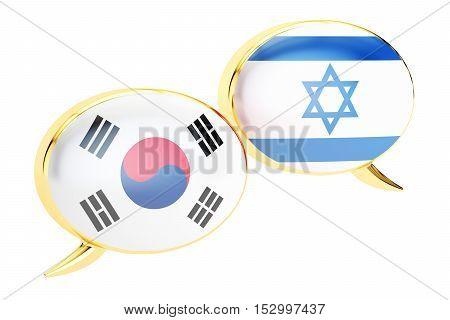 Speech bubbles Korean-Israeli translation concept. 3D rendering