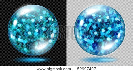 Two Transparent Spheres With Light Blue Sparkles. For Use On Dark And Light Background