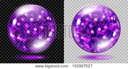 Two Transparent Spheres With Violet Sparkles. For Use On Dark And Light Background