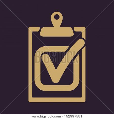 The checklist icon. Clipboard and executed task, correct answer symbol. Flat Vector illustration