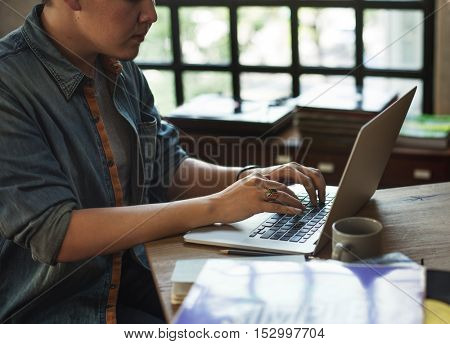 Man Working Laptop Technology Workplace Concept