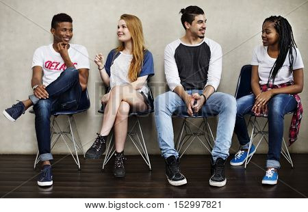 People Friendship Sitting Talking Youth Culture Concept
