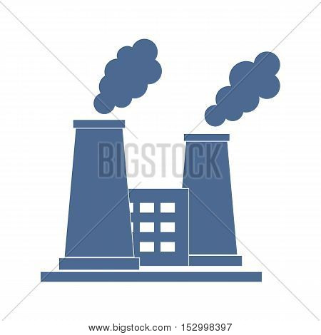 Stylized Icon Of The Oil Refinery Plant With Smoking Chimneys