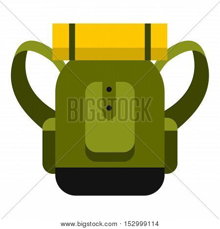 Travel backpack icon. Flat illustration of travel backpack vector icon for web design