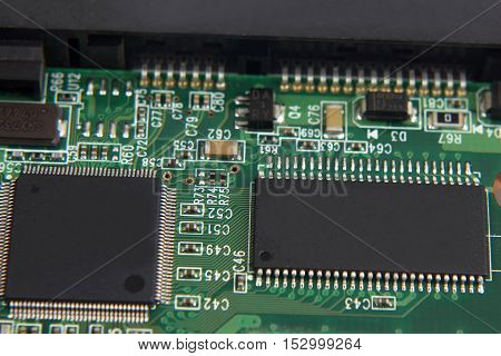 the electronic components on the panel closeup