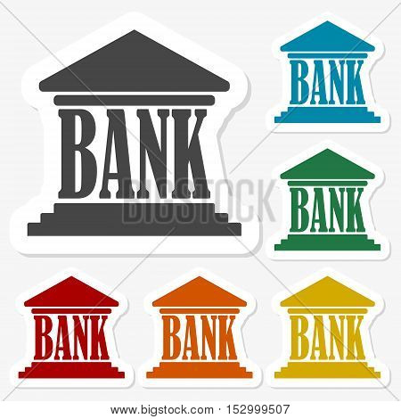 Multicolored paper stickers - Bank icon vector