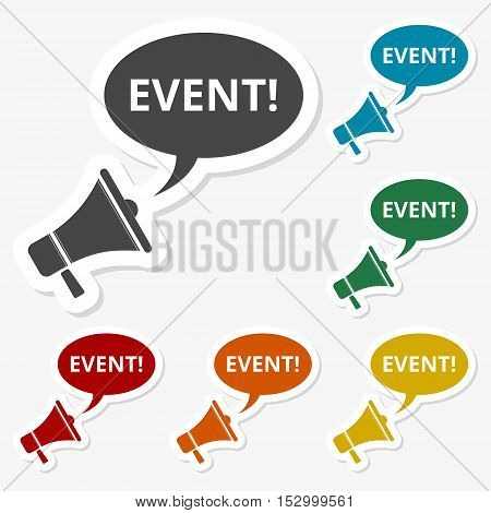 Multicolored paper stickers - Event icon vector