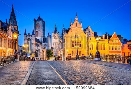 Gent Belgium. The historic center of Ghent embankment Graslei at night. Former center of the medieval harbor. Flanders.