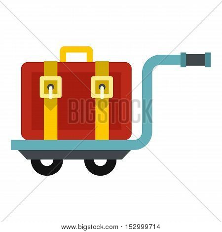 Suitcase on a cart icon. Flat illustration of suitcase vector icon for web design