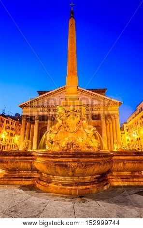 Rome Italy. Pantheon ancient architecture of Rome Italy dating from Roman Empire civilization