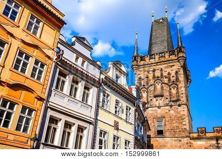 Prague Czech Republic. View of colorful old town in Prague taken from Charles bridge Bohemia.