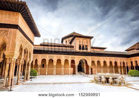 GRANADA SPAIN - 13th May 2016: Patio de los Leones in Alhambra of Granada. Alhambra of Granada is one of the most known monuments in Spain.
