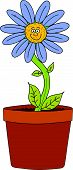 stock photo of pot plant  - Vector illustration of a smiling pot plant - JPG