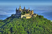 stock photo of rebuilt  - A photography of the beautiful castle Hohenzollern in Germany - JPG