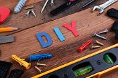 Diy Working Tools. Working Tools On Wooden Table. Diy Blank Project With Working Tools. Working Tool poster