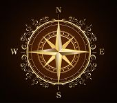 picture of wind-rose  - golden ornate compass rose - JPG