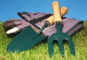 image of hand tools  - Small hand held garden tools with gardening gloves - JPG