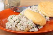 picture of biscuits gravy  - Sausage gravy on top of biscuits on a plate - JPG