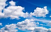 stock photo of ozone layer  - blue sky with white clouds - JPG