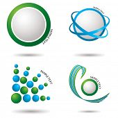 image of jade blue  - Collection of fresh green and blue icons with shadow - JPG