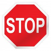 pic of road sign  - Red stop road sign illustration with white background - JPG