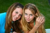 stock photo of teenage girl  - Two girls outside - JPG