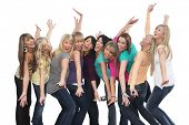 Ten beautiful young women having fun together.