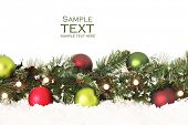 image of christmas ornament  - Christmas border of evergreen - JPG