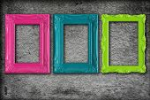 picture of girlie  - Colorful modern picture frames on a grey textured background - JPG