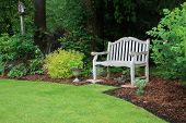 picture of manicured lawn  - Wooden bench in a beautiful park garden - JPG