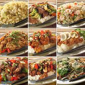 Collection of asian food dishes. Including sweet and sour chicken, beef and broccoli, chicken chow m