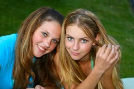 picture of teenage girl  - Two girls outside - JPG