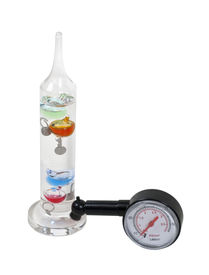 stock photo of galileo-thermometer  - Heat and pressure shown by a thermometer and a pressure gauge  - JPG