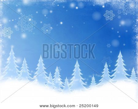 White Christmas Trees In Blue