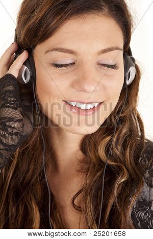 Woman Head Phones Eyes Closed