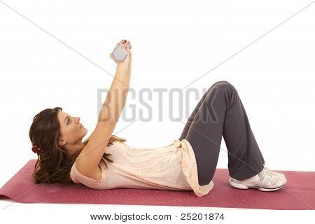 Woman Lay Back Weights Up