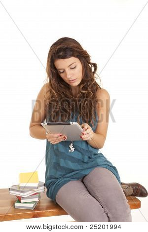Woman On Bench Pad Books