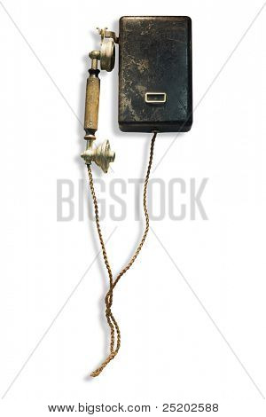 Old-fashioned wall-mounted central battery system telephone
