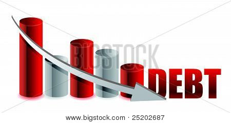 debt falling graph with arrow illustration design