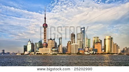 Panorama Of Modern Shanghai Pudong Skyline At Sunset