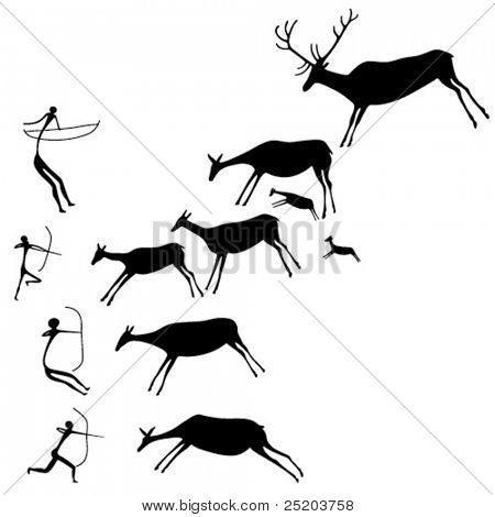 Cave painting. The hunters and deers. Late Stone Age. Vector silhouette