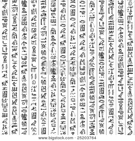 Sample of Egypt hieroglyphs. Vector seamless texture