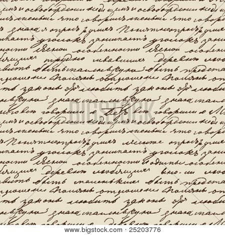 Seamless vector texture based on manuscript Leo Tolstoy