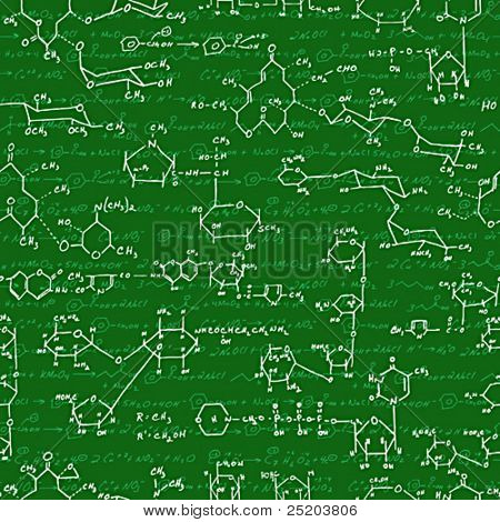 Seamlessly vector wallpaper chemistry scribbles on blackboard