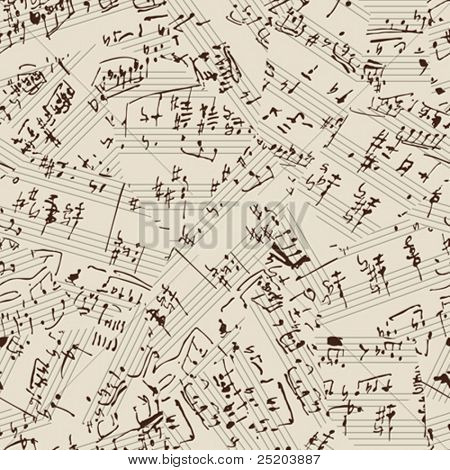 Seamless vector wallpaper. Music manuscript. Torn