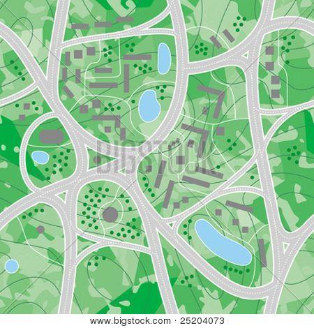 Inconsútil vector wallpaper. Mapa de carreteras